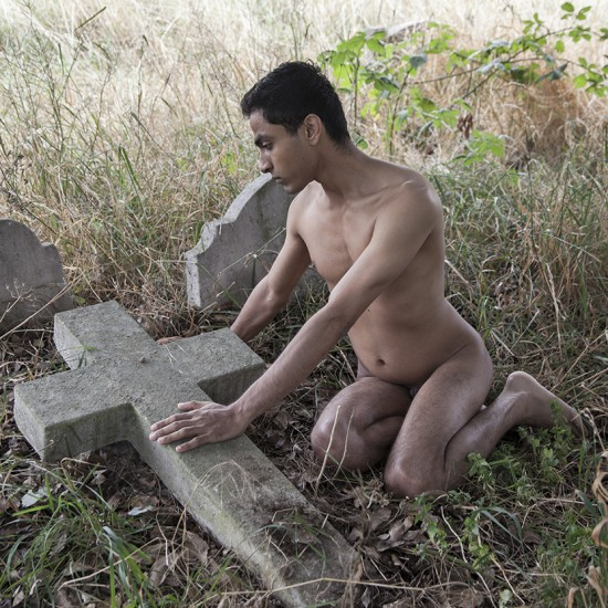 naked man at cemetery
