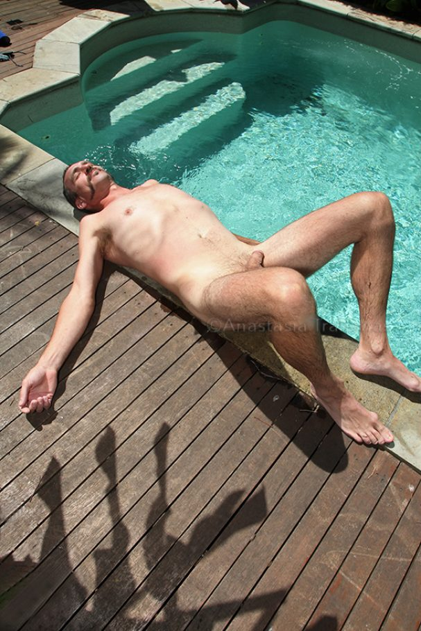 naked man by the pool