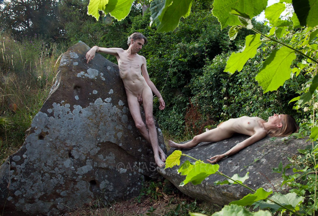 romantic couple on large stones